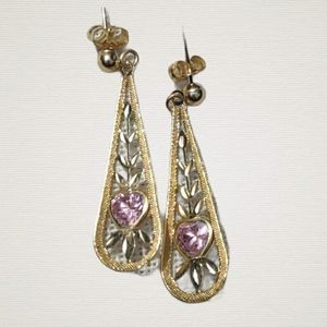 Antique 14k gold morganite dangle earrings
